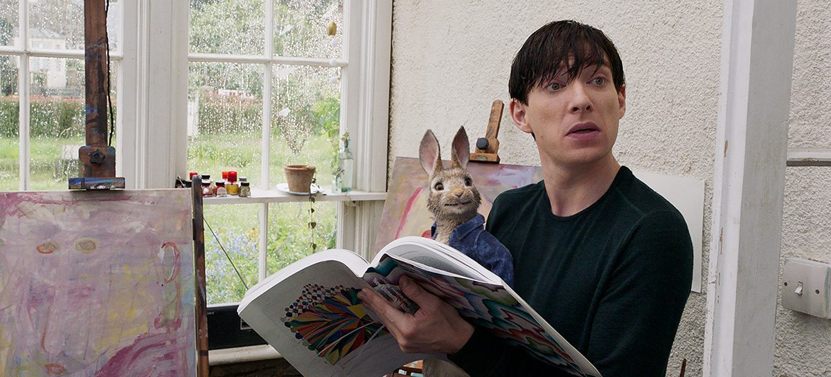 Part of the fight scene between Peter Rabbit and Thomas McGregor (Domhnall Gleeson).