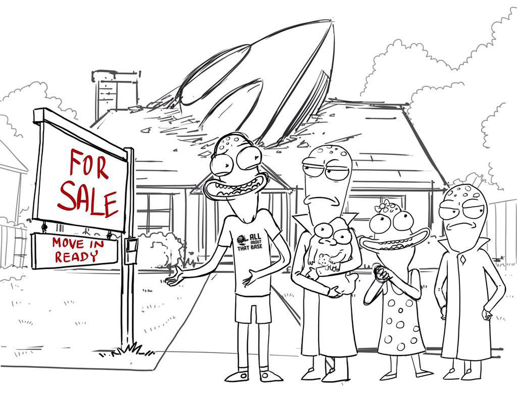 "Concept art from ""Solar Opposites"" posted in 2015 on <a href=""https://twitter.com/JustinRoiland"">Justin Roiland's Twitter</a>."