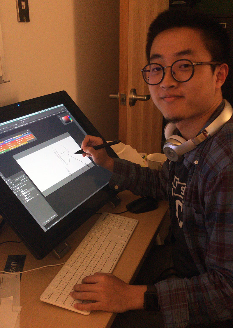 Liukaidi Peng interning at Blue Sky Studios' story department.