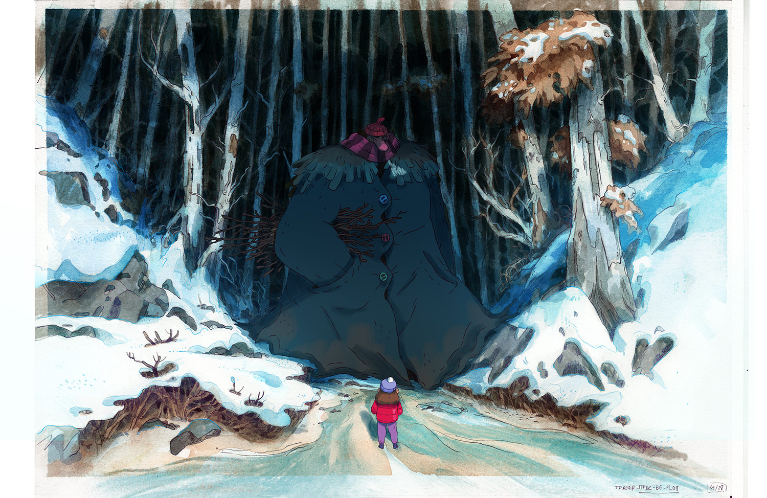 Characters, which are drawn and animated in TVPaint, are composited with the final background.