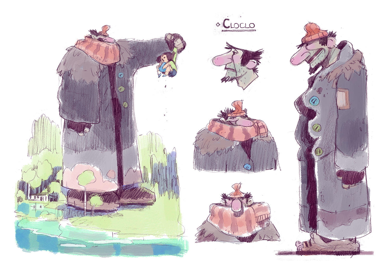 "The project plays with the proportions of the characters, such as these concepts for the character Cloclo, to bring fantasy to the film, and help the audience see the story ""through the eyes of a child."""