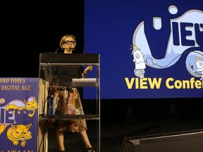Mireille Soria speaking at the VIEW Conference. (Photo: Damné Jesús Pérez Irigoyen.)