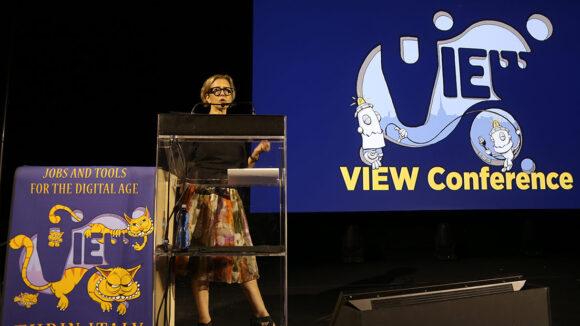 Mireille Soria speaking at the VIEW Conference. (Photo: Damné Jesús Pérez Irigoyen.)