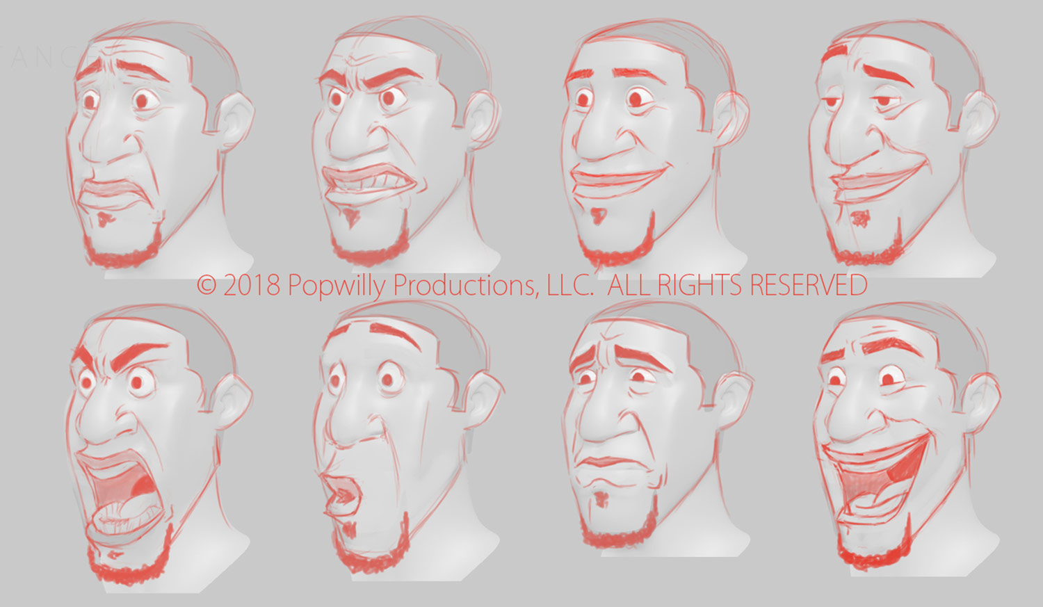 "Model sheet for one of the main characters in ""Substance."""