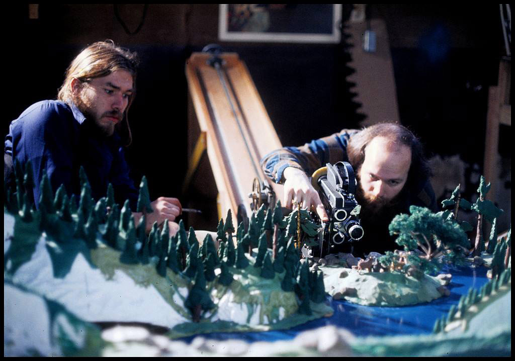 "Will Vinton (right) and Bob Gardiner on the set of their 1976 short ""Mountain Music."""
