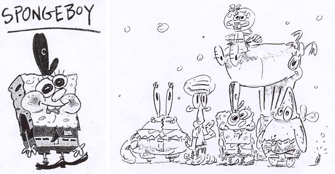 Stephen Hillenburg's early concepts for Spongebob.