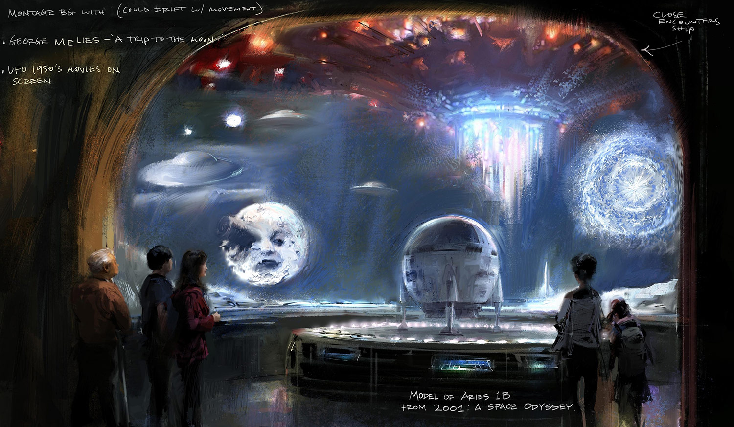 "Concept painting by Erik Tiemens of the ""Where Dreams Are Made"" exhibit."