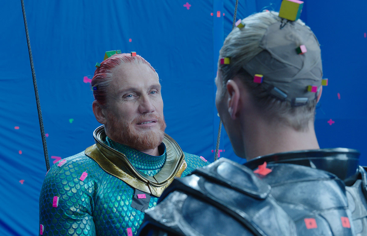Dolph Lundgren as King Nereus (left) and Patrick Wilson as King Orm perform a scene against bluescreen with tracking markers placed on their hairlines.