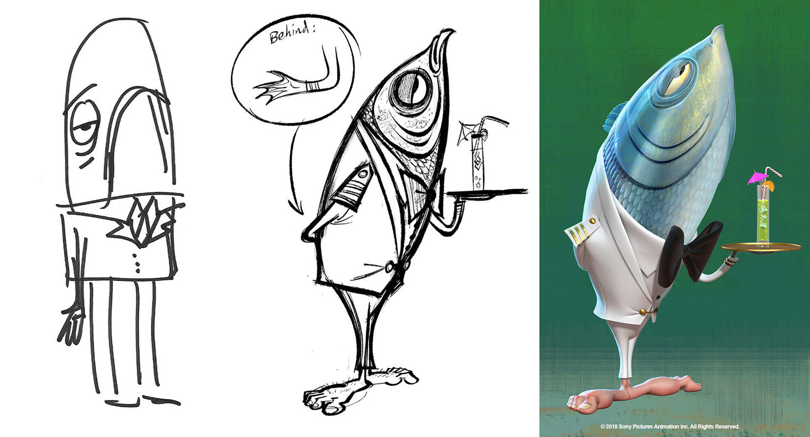 Development of Stan the Fishmen by (l. to r.) Genndy Tartakovsky, Craig Kellman, and Yoriko Ito.