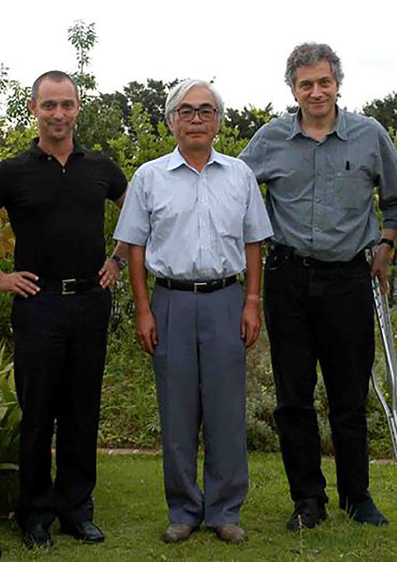 Erbes (left) and Dudok de Wit (right) visiting Hayao Miyazaki in Japan.