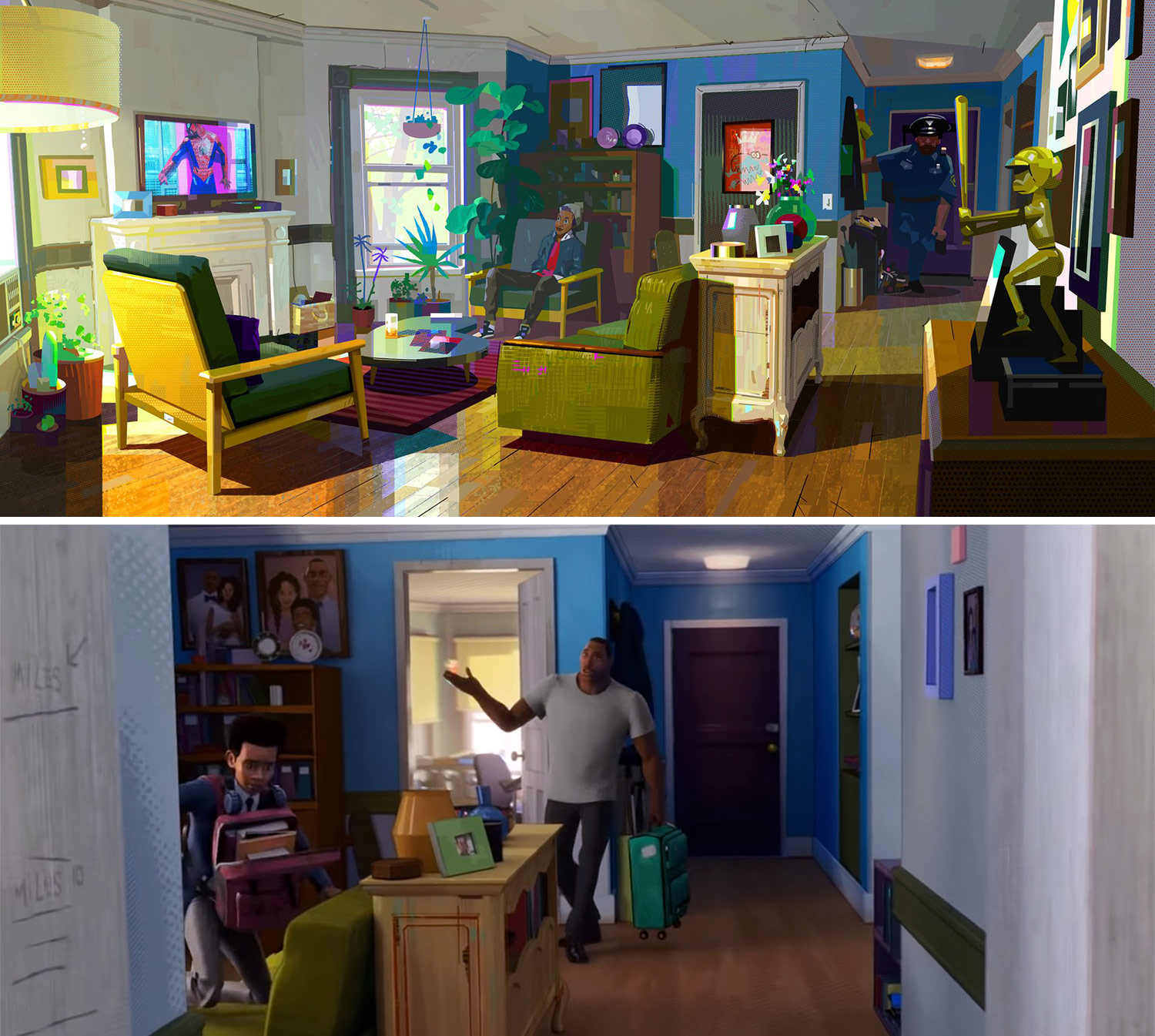 Concept art of Miles Morales' home by Peter Chan (top) and finished film still (bottom) emphasize warmth through vibrant colors.