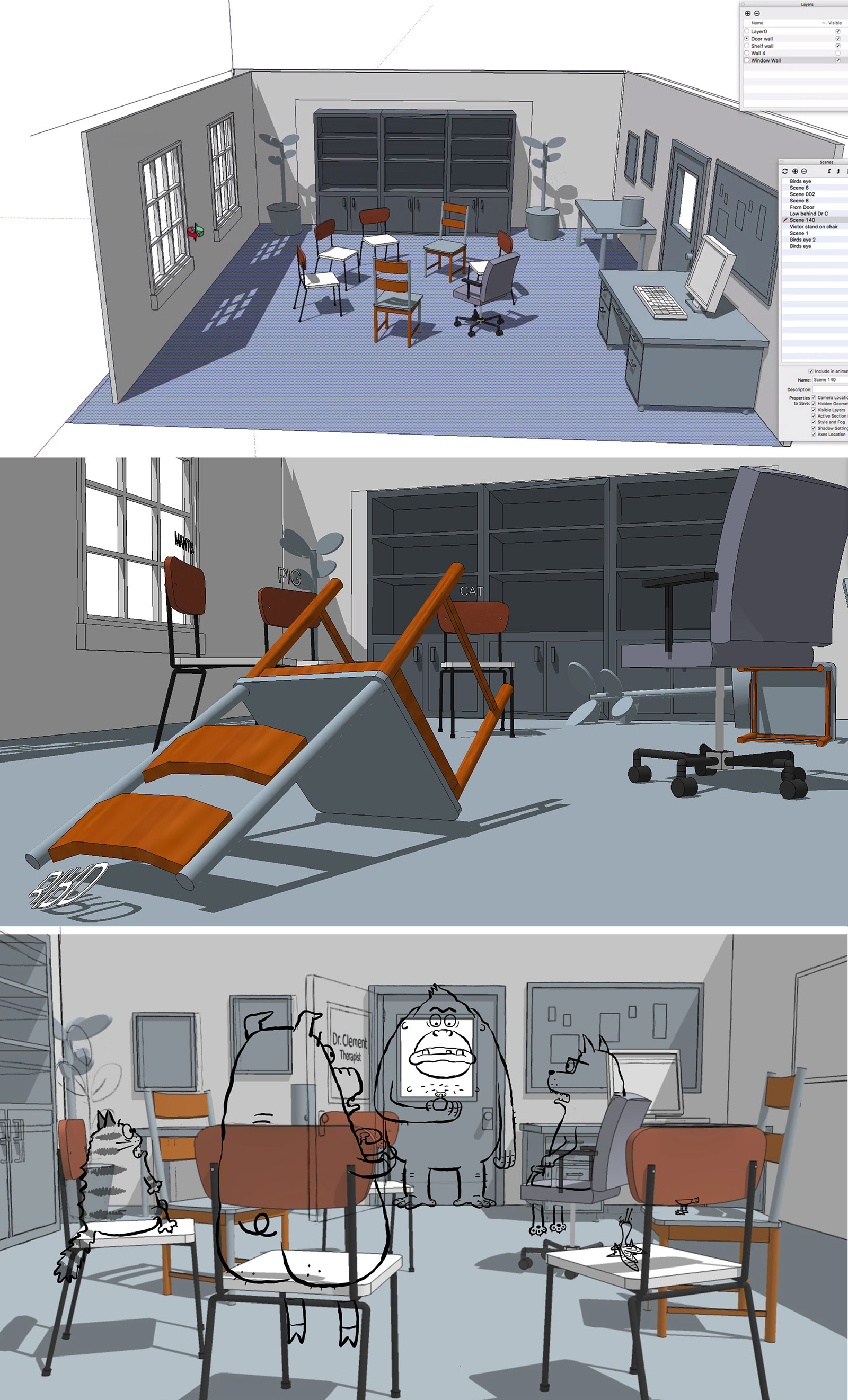 The filmmakers say it was a challenge to make an entire film that took place in one room. In order to find interesting camera angles, they built the room in 3d and used it to explore layouts. The 3d layouts were then printed out and used as the basis for the background paintings.