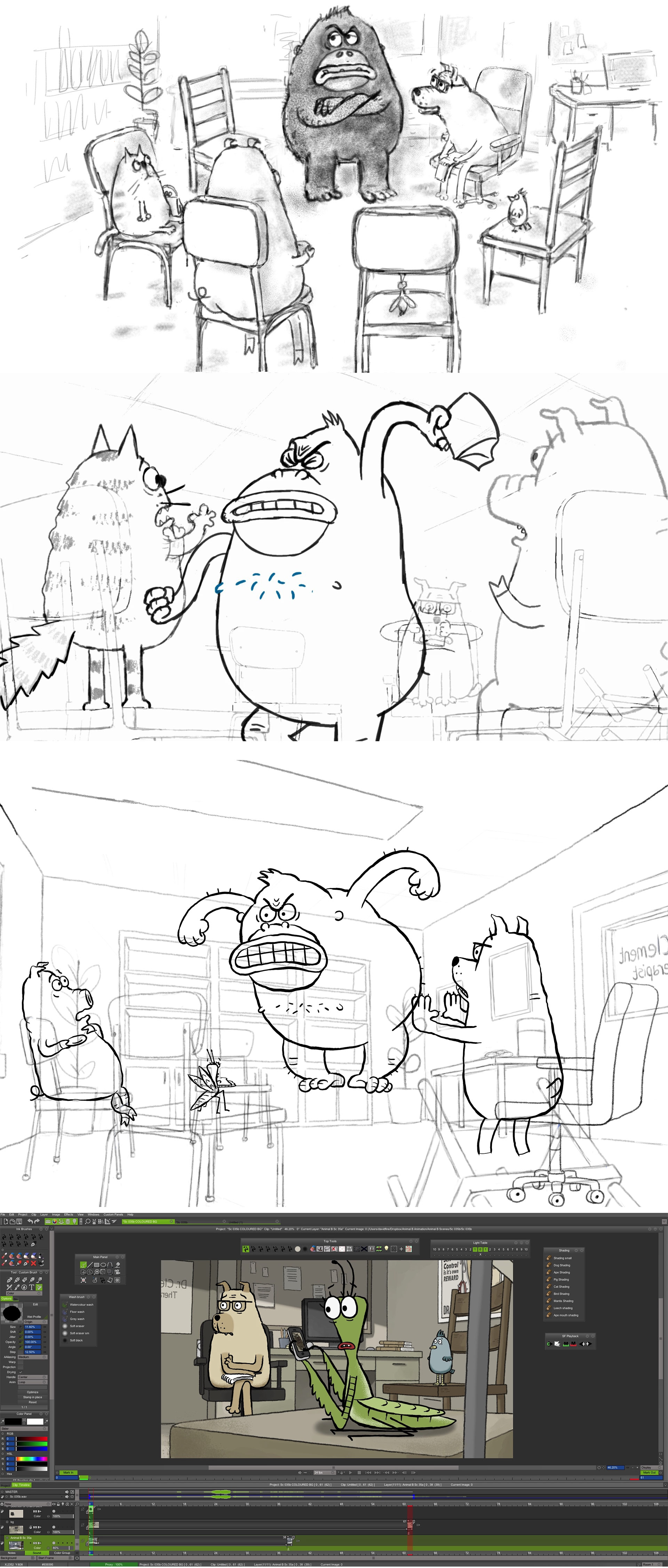 """""""Animal Behaviour"""" process, top to bottom: Storyboard, rough line animation, inked animation, color and compositing in TVPaint."""