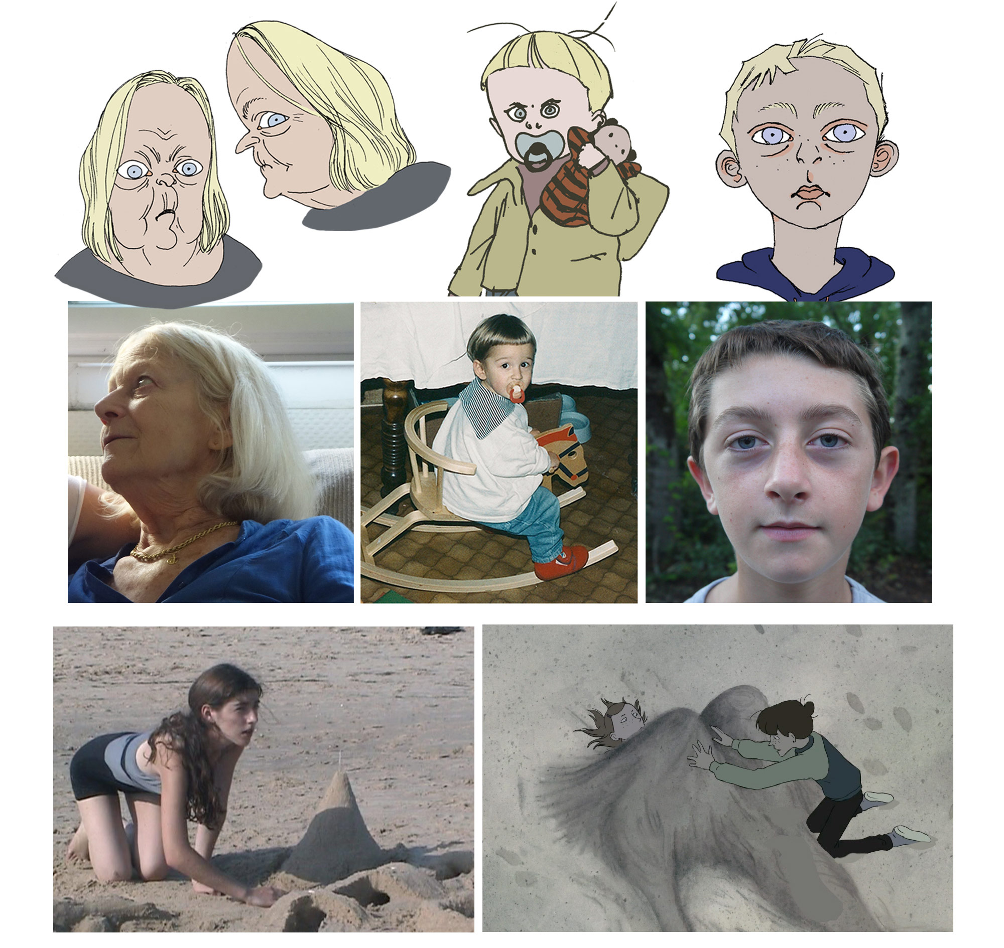 """In """"Grandpa Walrus,"""" the design of the characters are inspired by Andreae's own family, include her grandmother, two brothers, and herself as a teenager."""