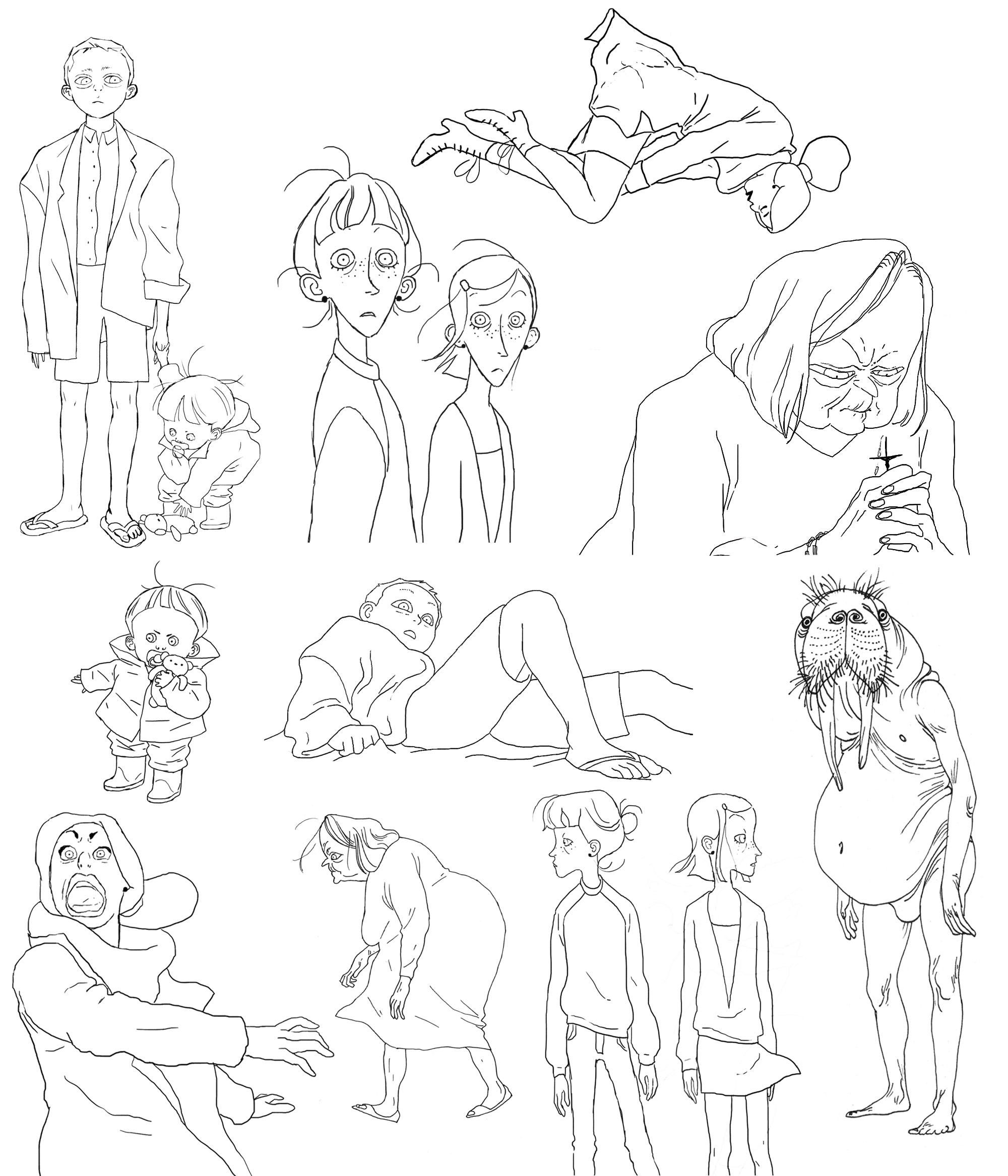 "Character designs for ""Grandpa Walrus."""