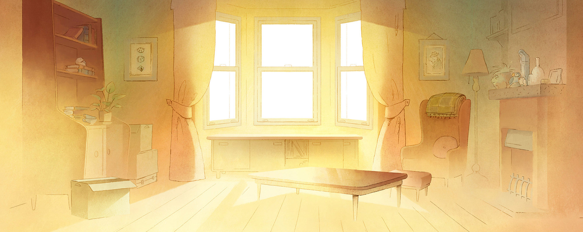 """Final background painting from """"Late Afternoon."""""""