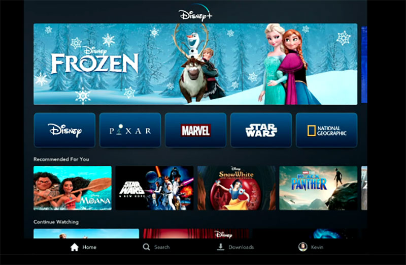 The Disney+ interface looks similar in look and feel to other existing streaming services.