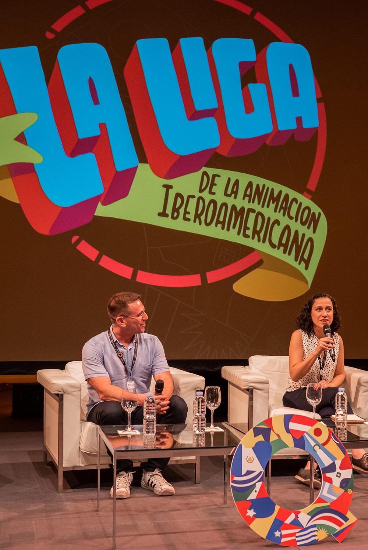Pixelatl's José Iñesta and Animation! at Ventana Sur's Silvina Cornillon announce the new initiative La Liga.