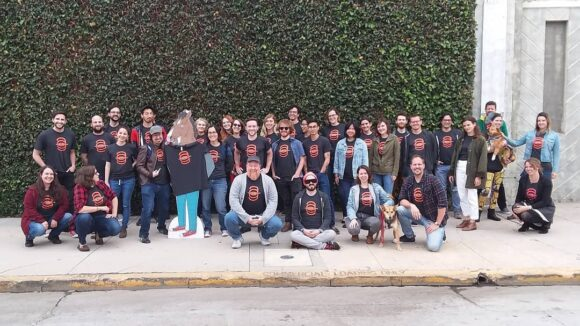 "The ""Bojack Horseman"" crew wearing Animation Guild t-shirts outside Shadowmachine."