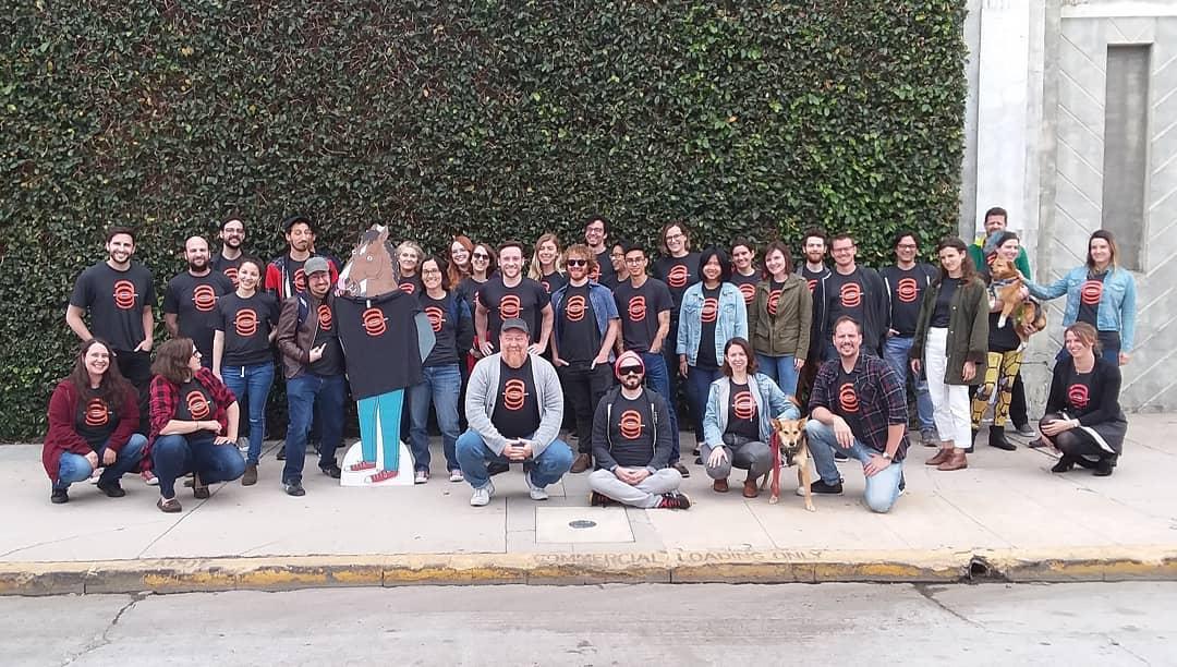 "The ""Bojack Horseman"" crew wearing Animation Guild t-shirts outside Shadowmachine."