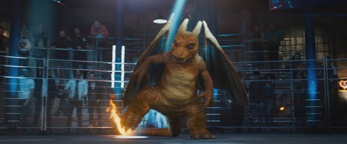 Real-world textures were referenced to design each of the characters, like Charizard. Image courtesy Warner Bros. Pictures.