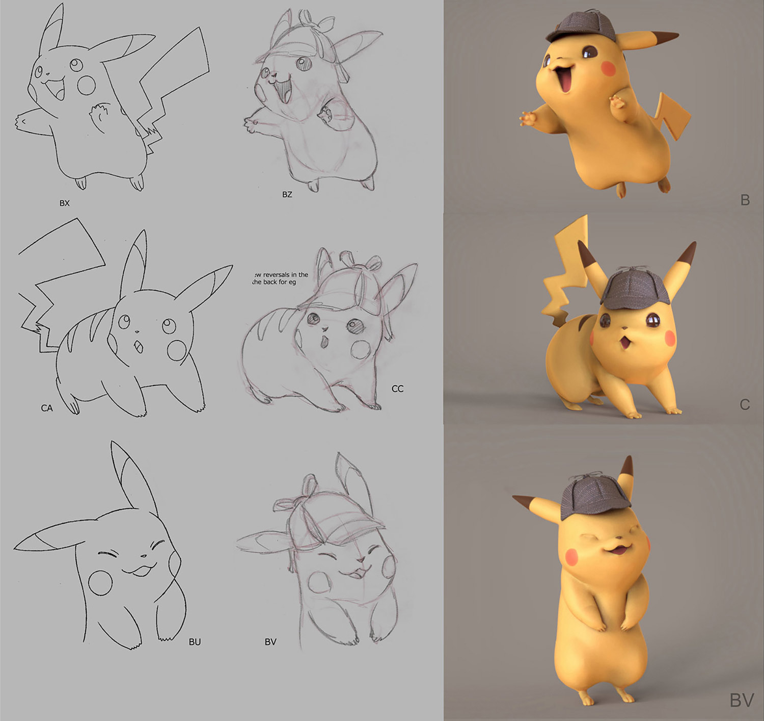 Each character went through numerous design phases involving the director Rob Letterman, The Pokémon Company, and the design/animation teams.