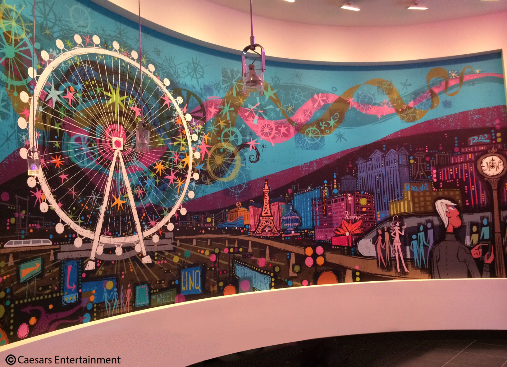 One of seven murals by Reccardi at the Linq Hotel's High Roller observation wheel in Las Vegas.