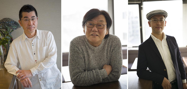 "The directors of the anthology feature ""Modest Heroes"" (l. to r.): Akihiko Yamashita, Yoshiyuki Momose, Hiromasa Yonebayashi."