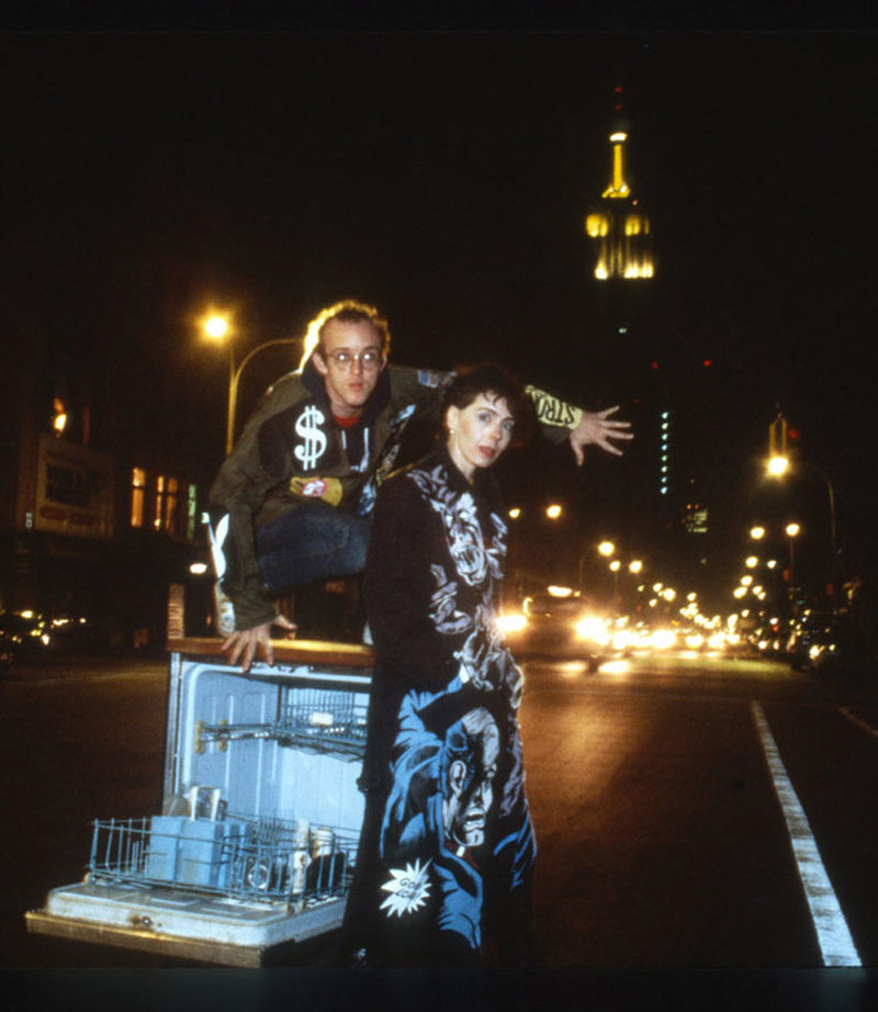Suzan Pitt with Keith Haring, wearing jackets painted by Pitt, New York City, 1980s.