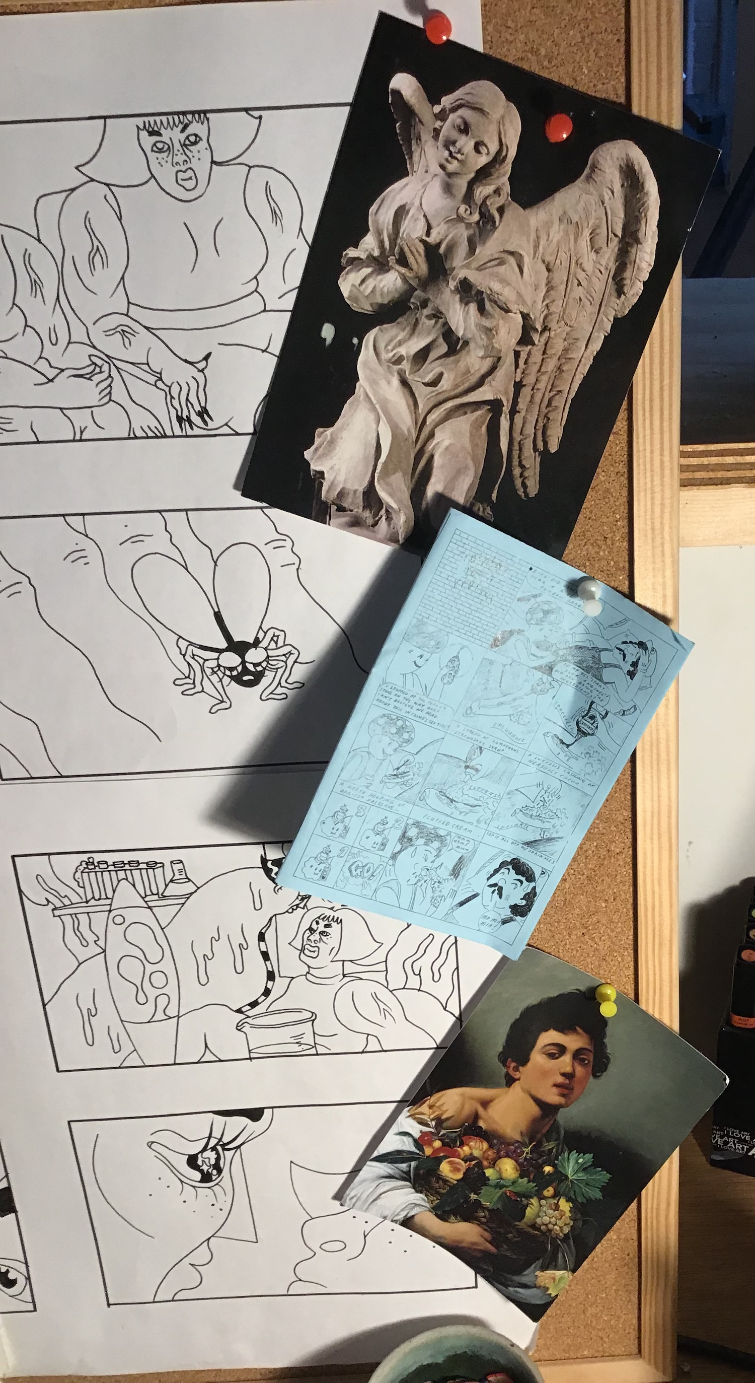 """Artwork that inspires Gate is pinned next to a storyboard for """"Slug Life."""""""