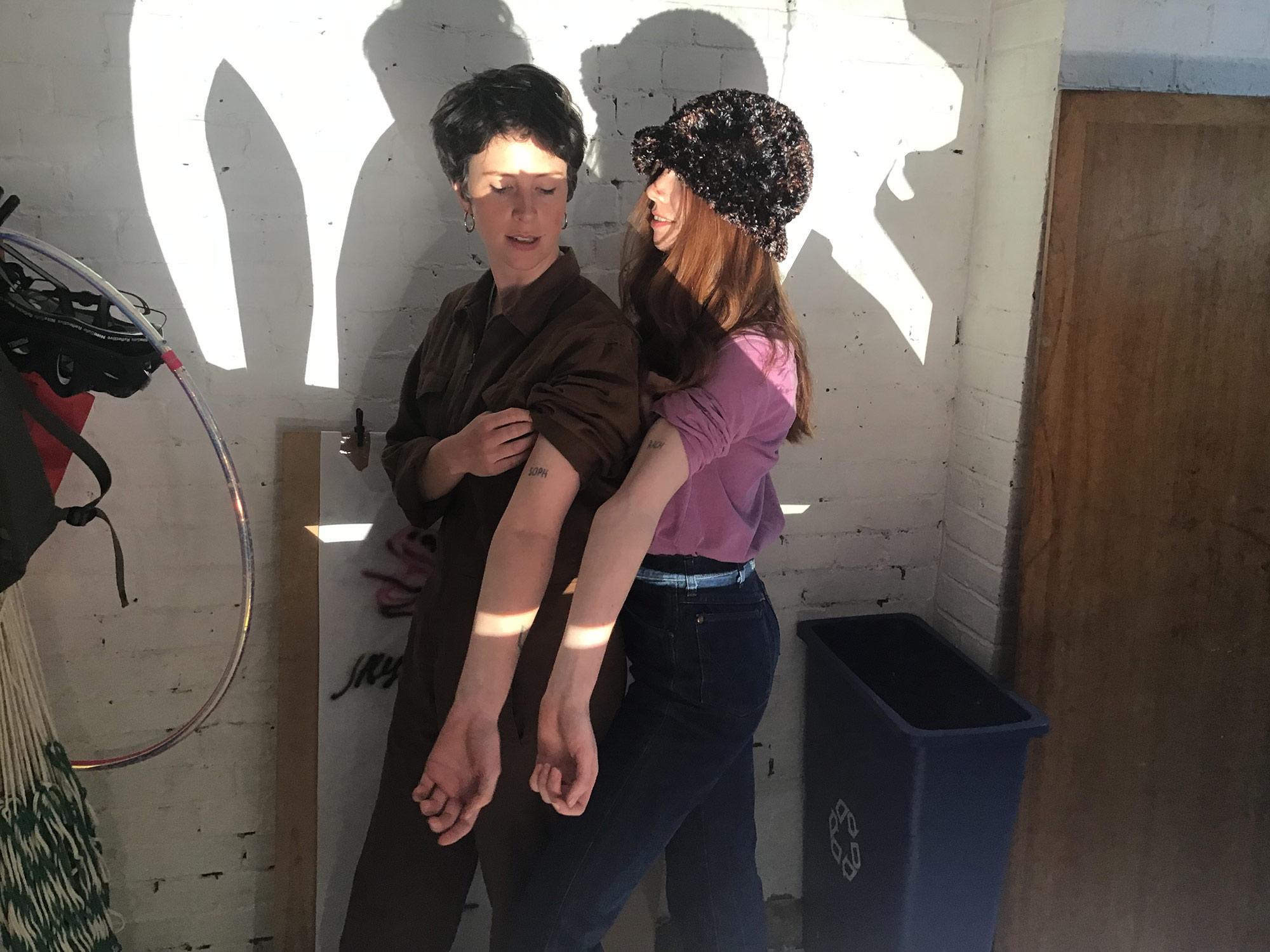 Gates with studio mate Rachel Sale.