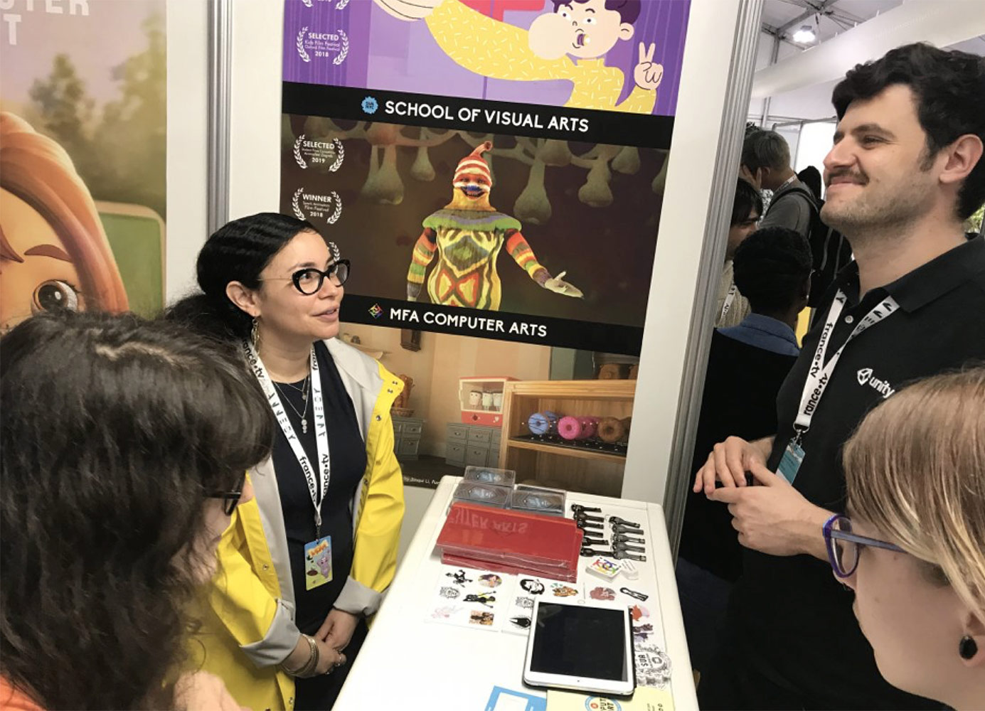 The SVA booth at the 2019 Annecy International Animation Festival. Photo by Hsiang Chin Moe.