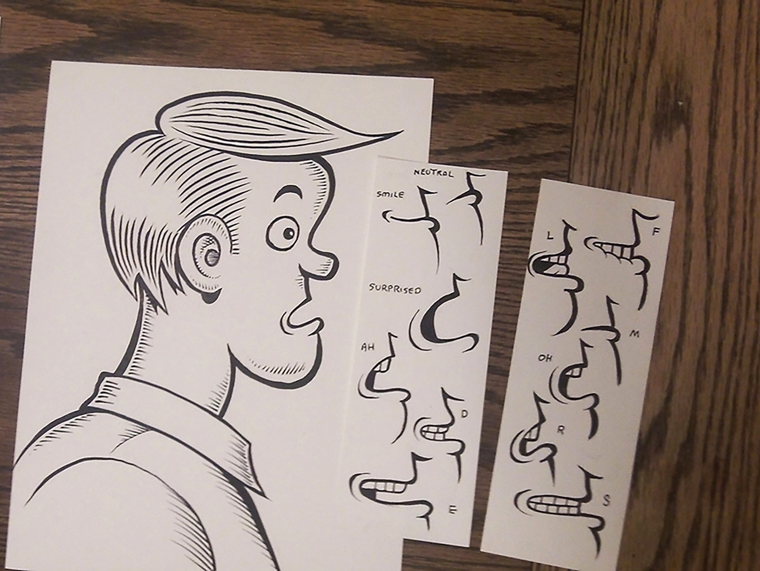 "Examples of drawn mouth charts for ""The Realm Beyond Reason"" that were later adapted for animation in Adobe Character Animator."