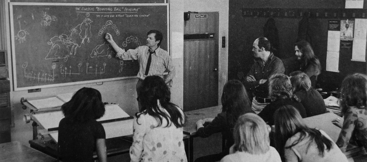Richard Williams teaching a class at his studio in 1972.