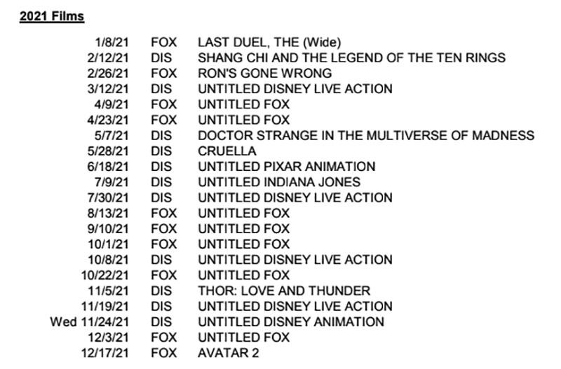 Disney release schedule.