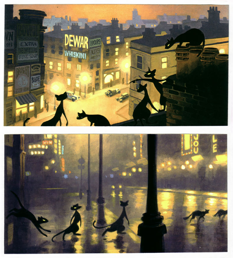 "Concept art by Luc Desmarchelier for Amblimation's unmade animated version of ""Cats."""