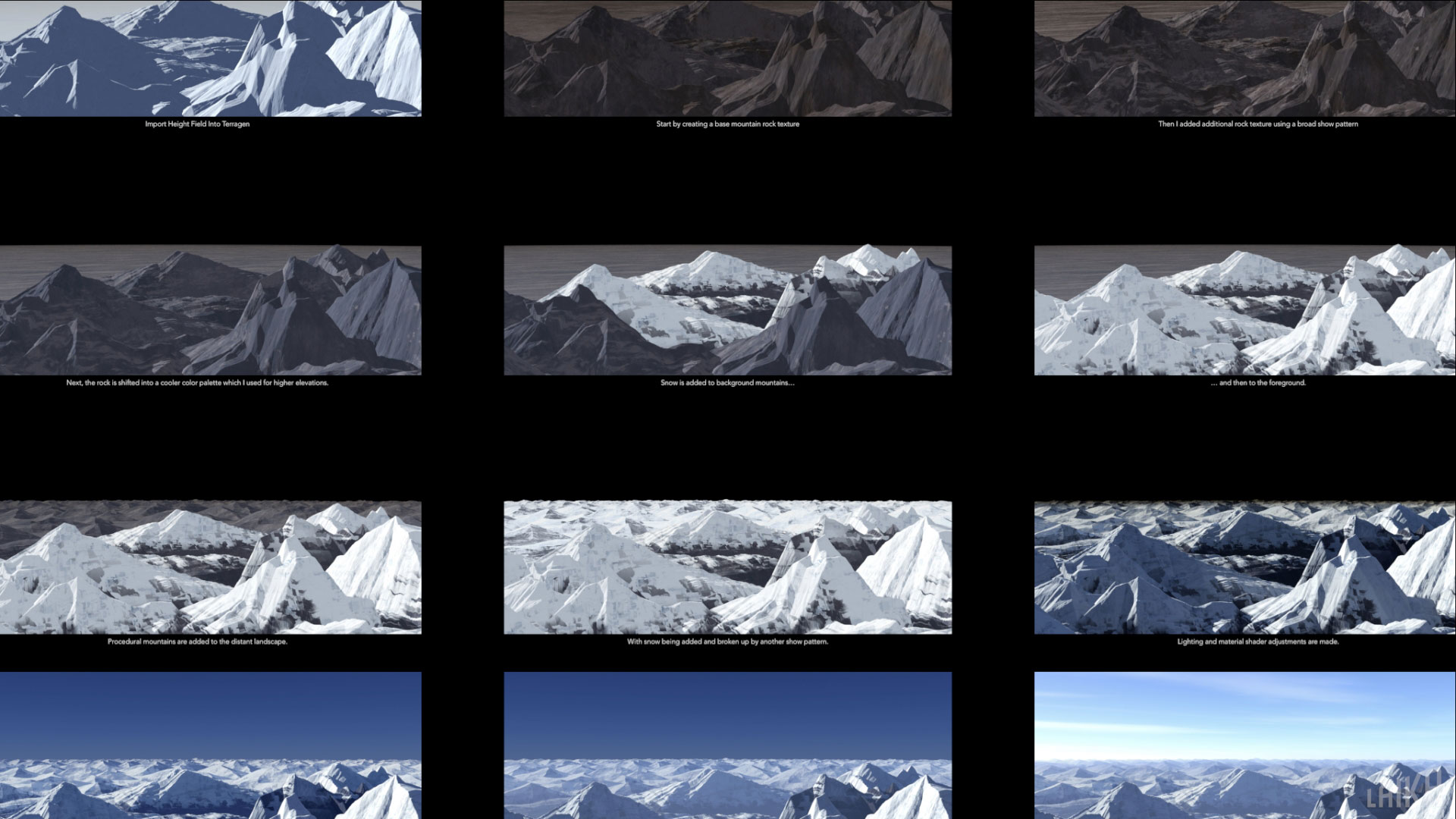 Various passes of a mountain set with a base created in Terragen.
