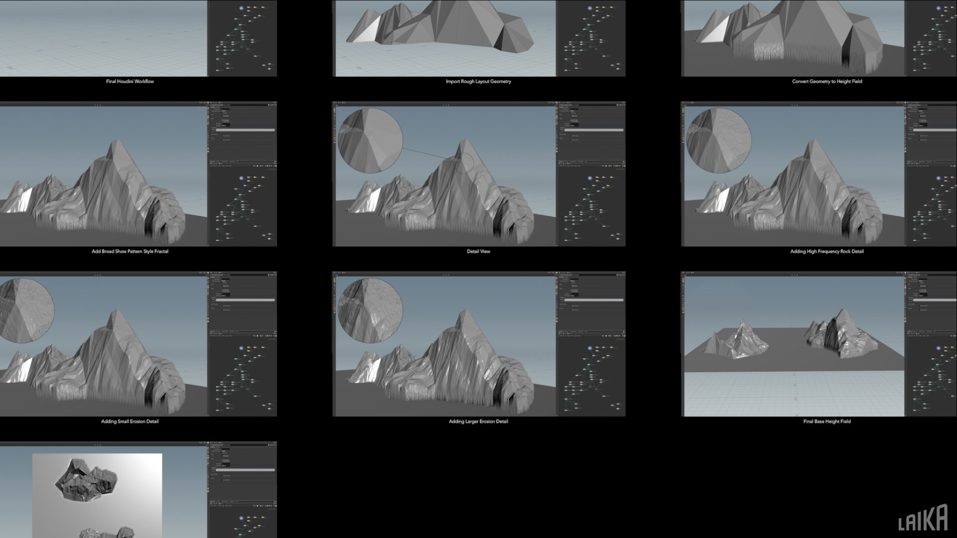 Various passes of a mountain set using a Houdini workflow.