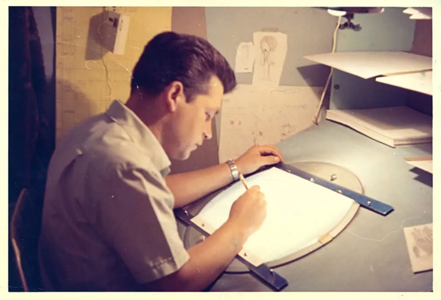 Roman Arambula working at Gamma Productions in Mexico in the 1960s.