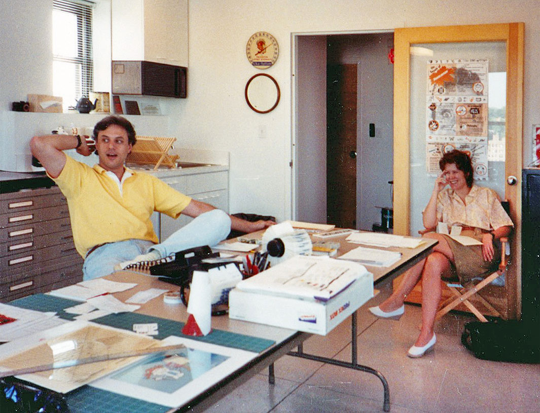 J.J. and Patrice Sedelmaier shortly after they started their studio in 1991.
