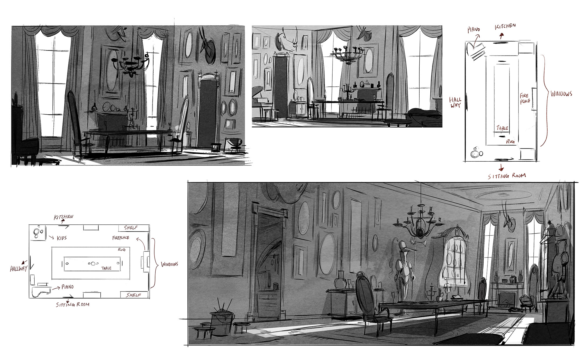 Concept artwork for the Willoughby house by Mike Chen.
