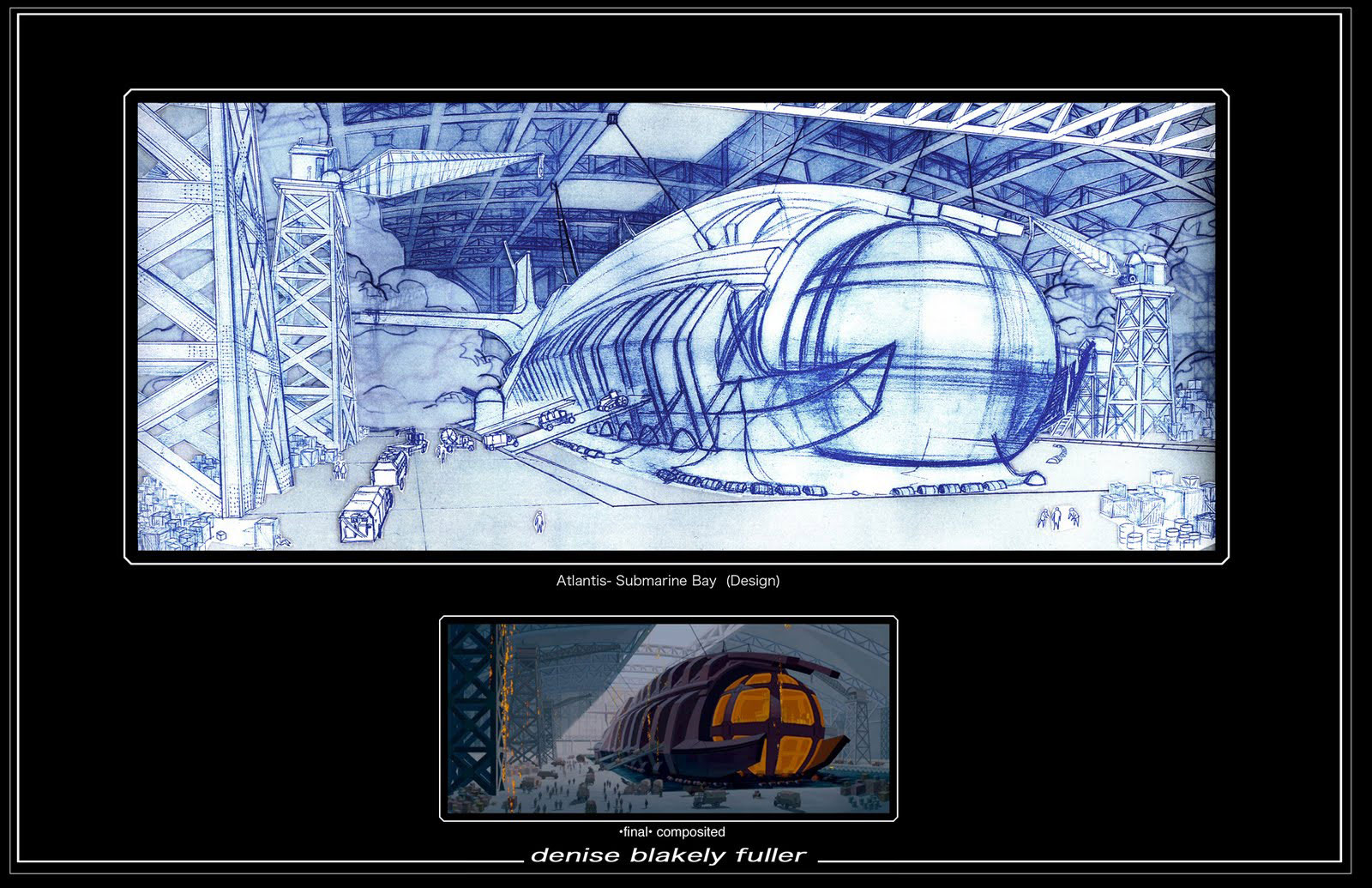 """Layout drawing by Blakely Fuller from Disney's """"Atlantis: The Lost Empire"""" (2001)."""