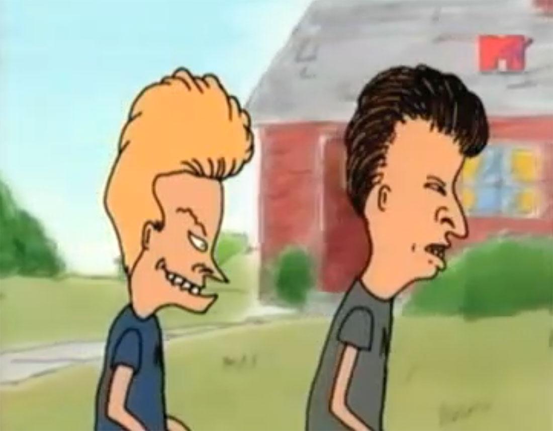 "Still from a season one episode of ""Beavis and Butt-Head."""