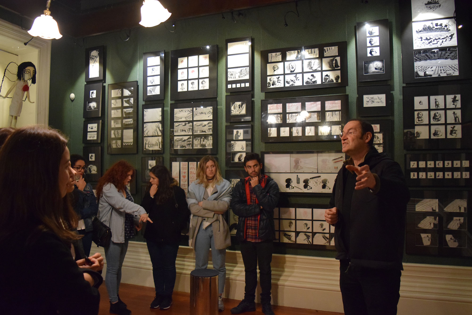 Abi Feijó (right) conducting a tour of his museum, Casa Museu de Vilar.