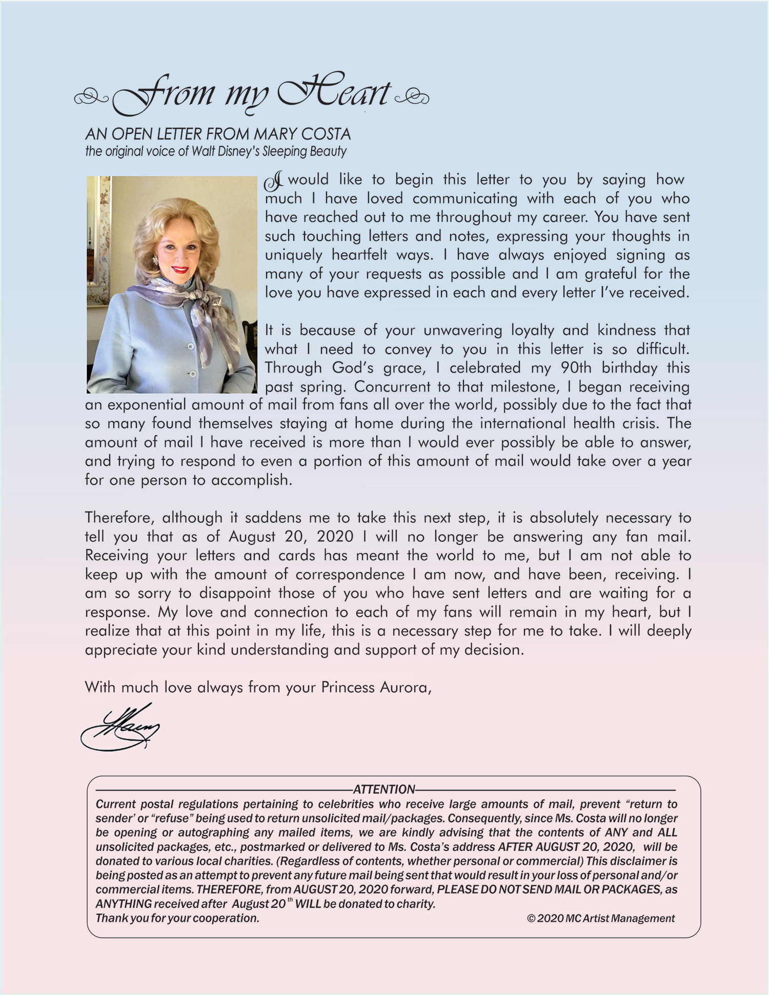 Letter from Mary Costa