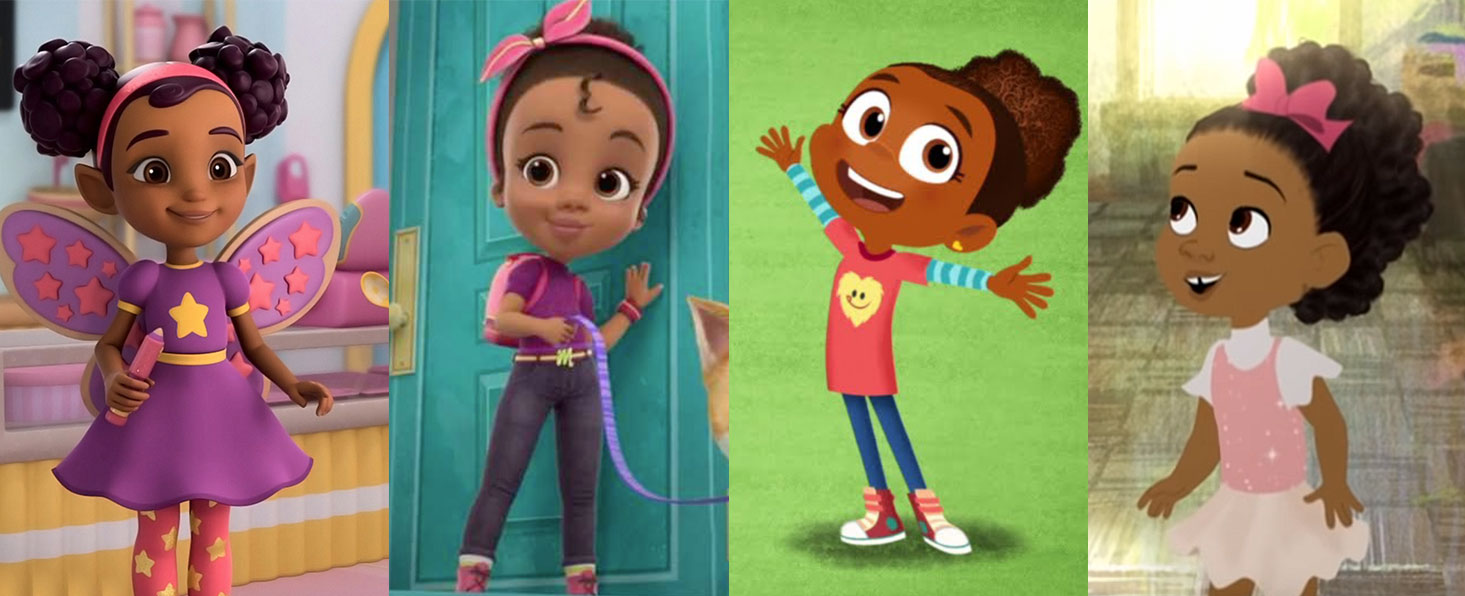 """Left to right: Nick Jr.'s """"Butterbean's Café,"""" """"Made by Maddie,"""" HBO Max's """"Esme & Roy,"""" """"Hair Love"""""""