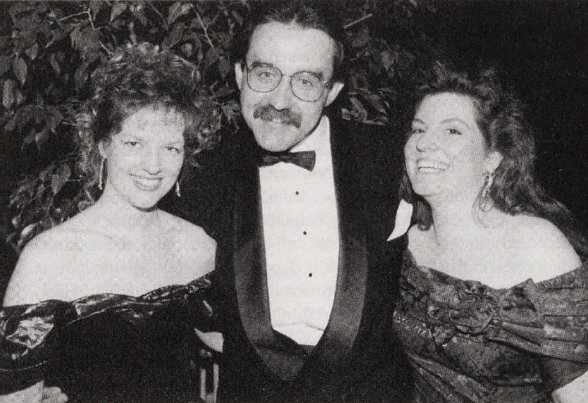 "Brenda Chapman (left), producer Don Hahn, and Sue Nichols at the wrap party for ""Beauty and the Beast"" (1991)."
