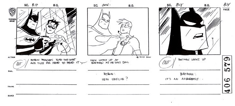 """Storyboards by del Carmen from """"Batman: The Animated Series."""""""