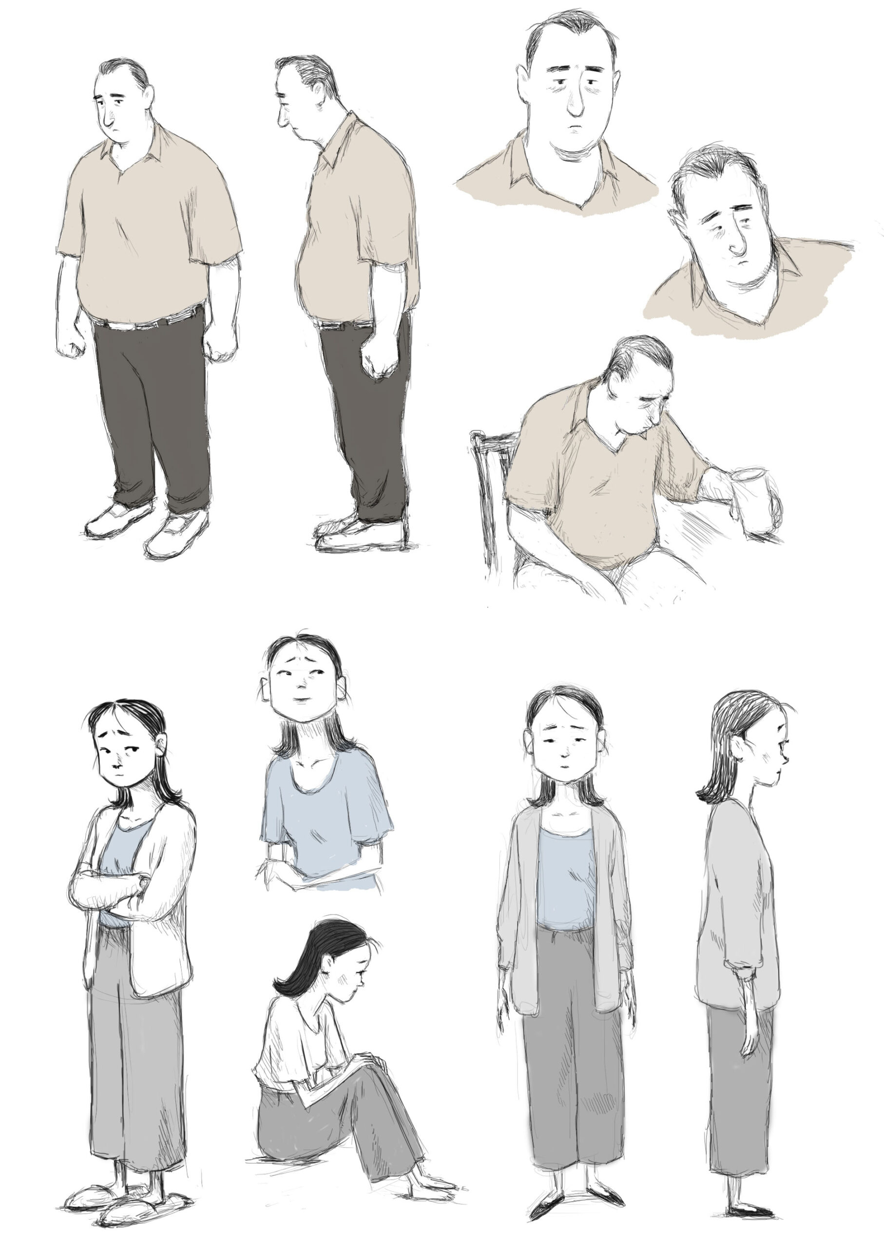 Character designs of the parents from If Anything Happens I Love You