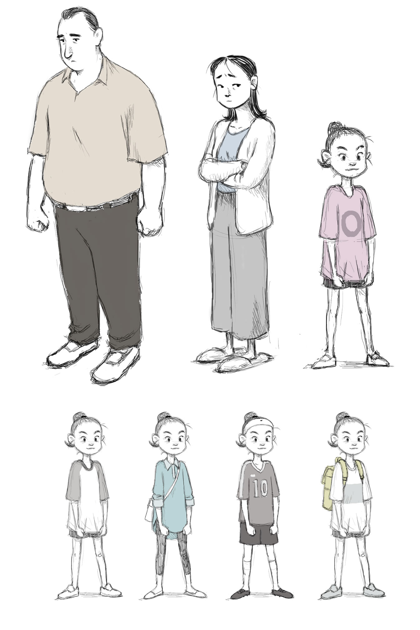 "Character and outfit designs from ""If Anything Happens I Love You."""